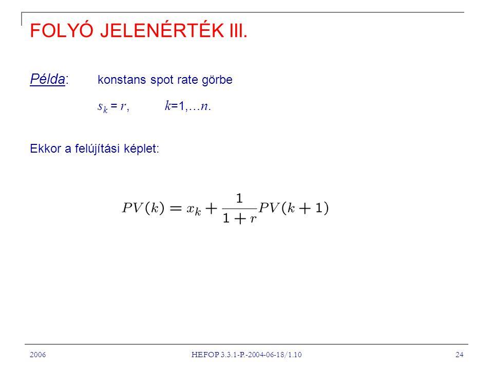 FOLYÓ JELENÉRTÉK III. Példa: konstans spot rate görbe sk = r, k=1,…n.