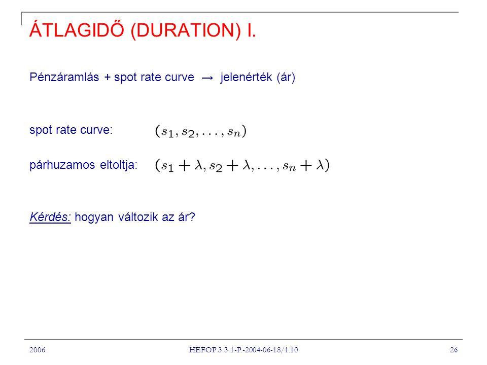 ÁTLAGIDŐ (DURATION) I. Pénzáramlás + spot rate curve → jelenérték (ár)