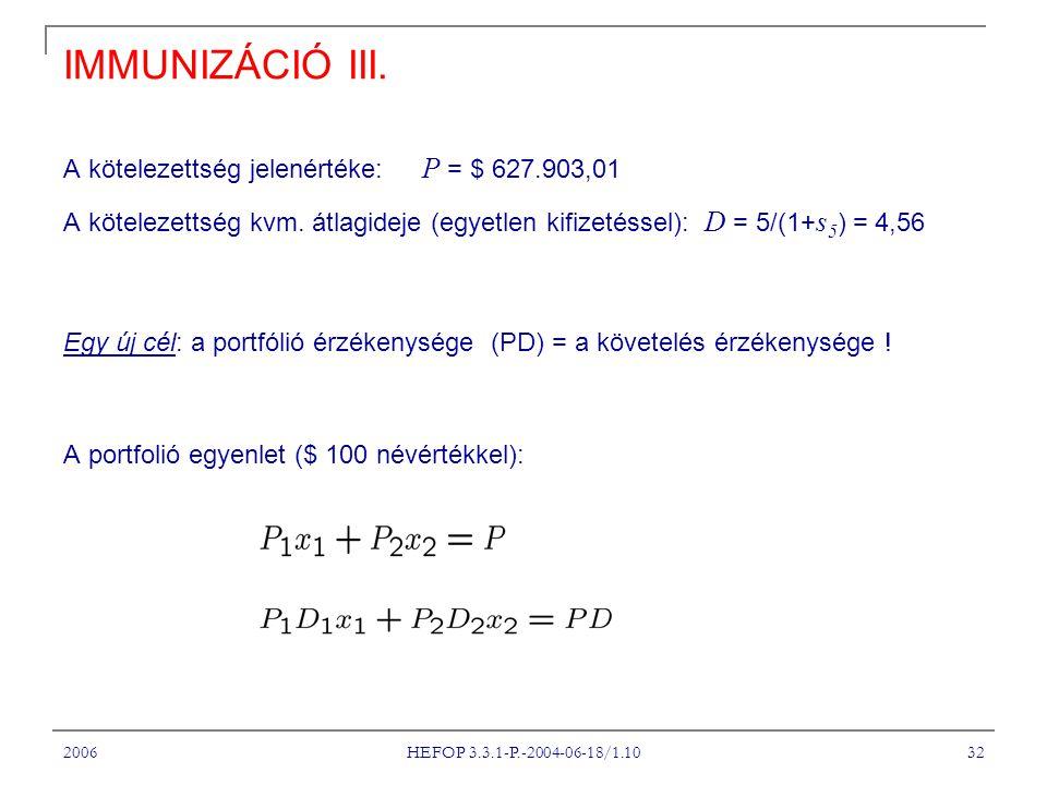 IMMUNIZÁCIÓ III. A kötelezettség jelenértéke: P = $ 627.903,01