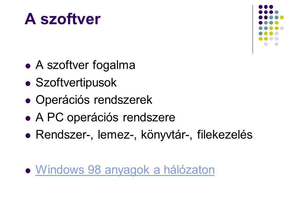A szoftver A szoftver fogalma Szoftvertipusok Operációs rendszerek