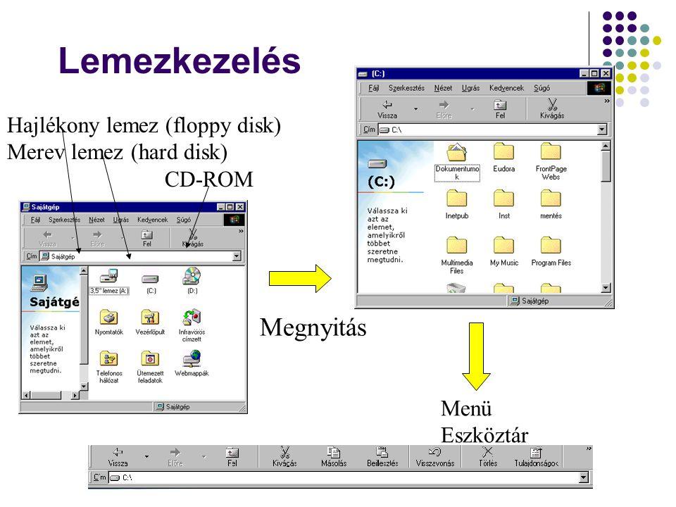 Lemezkezelés Megnyitás Hajlékony lemez (floppy disk)