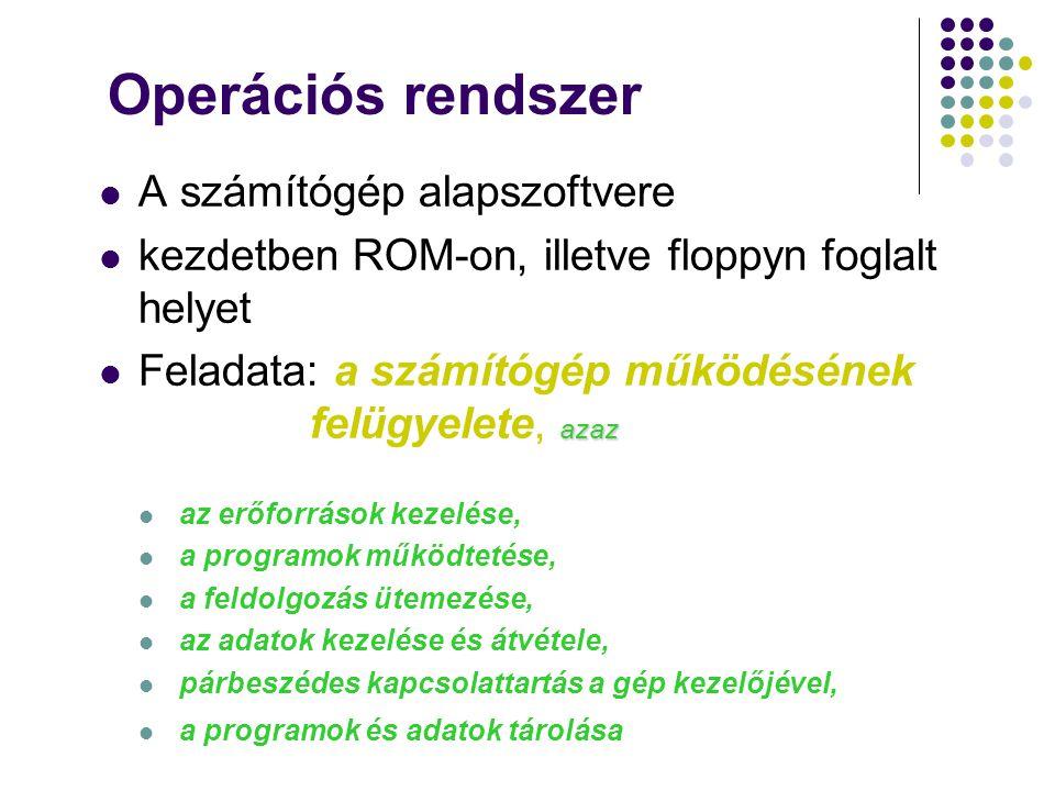 Operációs rendszer A számítógép alapszoftvere