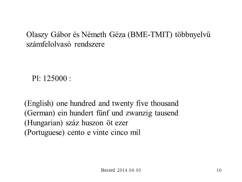 Olaszy Gábor és Németh Géza (BME-TMIT) többnyelvű