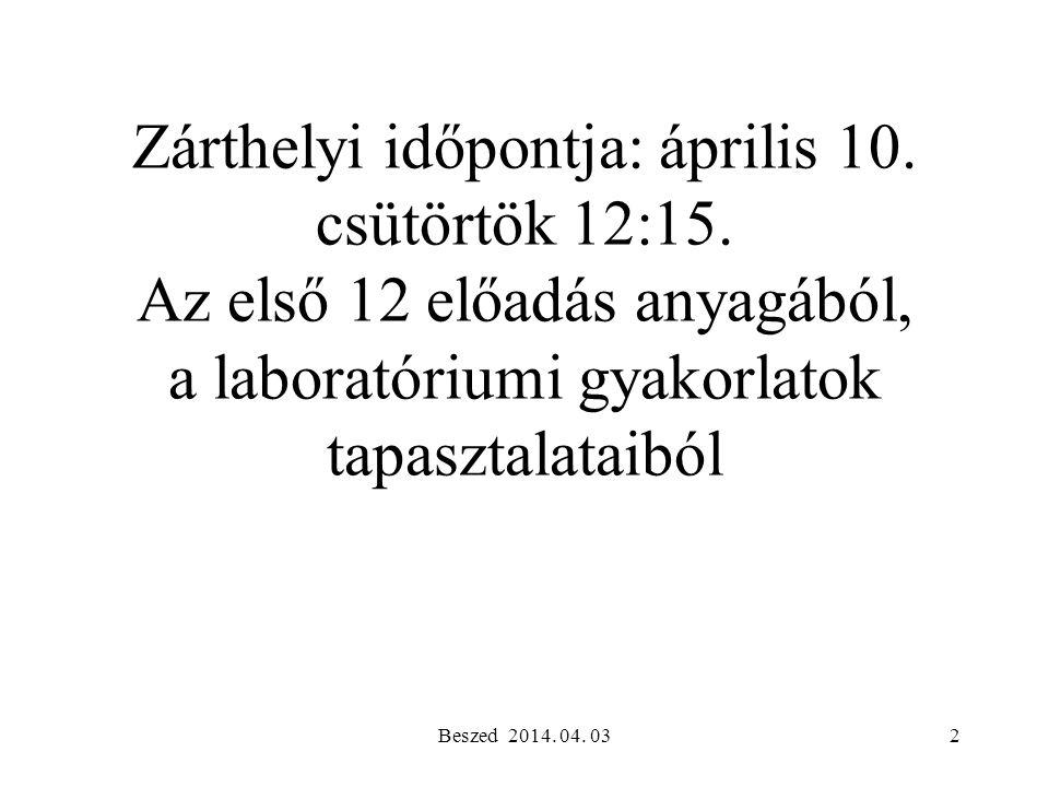 Zárthelyi időpontja: április 10. csütörtök 12:15