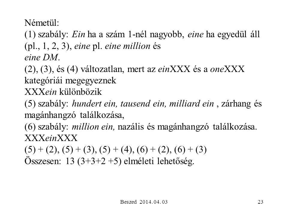 (6) szabály: million ein, nazális és magánhangzó találkozása.