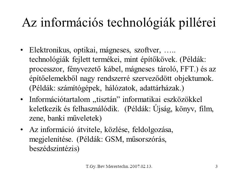 Az információs technológiák pillérei