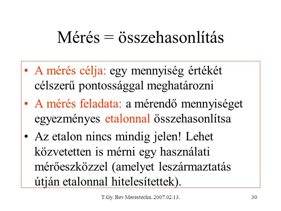 Mérés = összehasonlítás