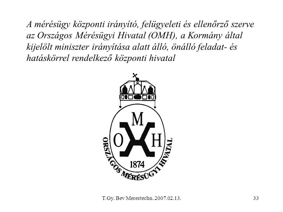 A mérésügy központi irányító, felügyeleti és ellenőrző szerve az Országos Mérésügyi Hivatal (OMH), a Kormány által kijelölt miniszter irányítása alatt álló, önálló feladat- és hatáskörrel rendelkező központi hivatal