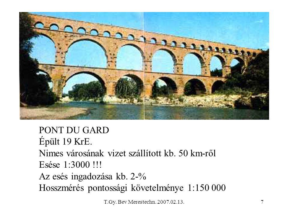 Nimes városának vizet szállított kb. 50 km-ről Esése 1:3000 !!!