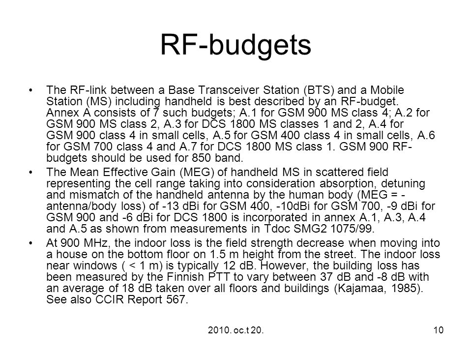 RF‑budgets