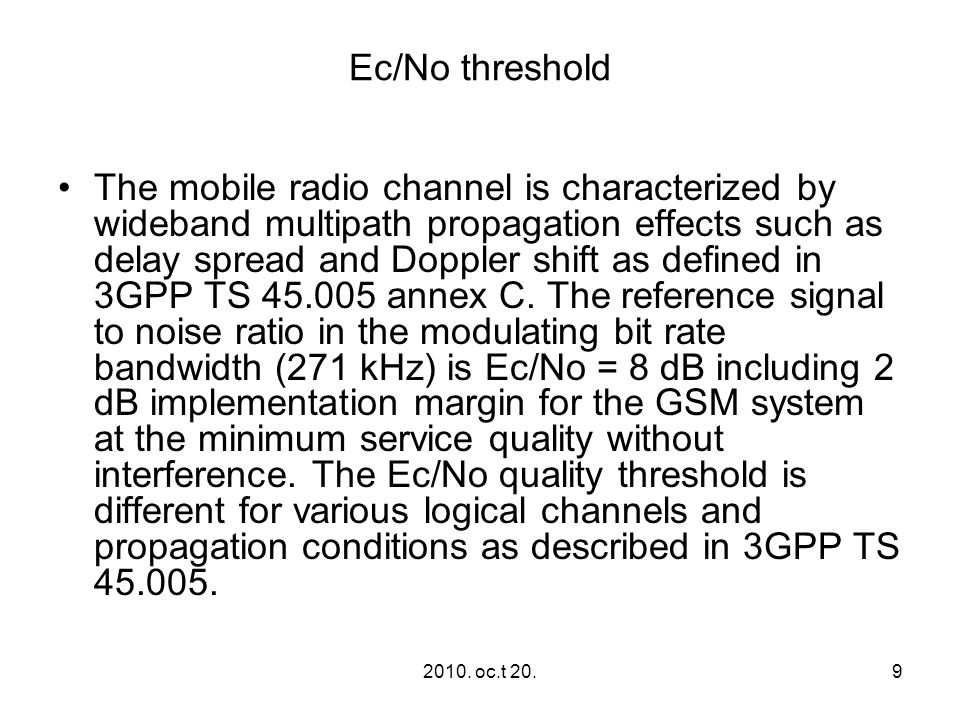 Ec/No threshold