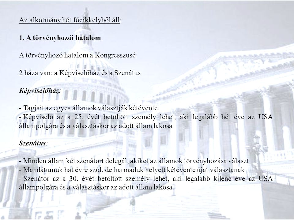 Az alkotmány hét főcikkelyből áll: