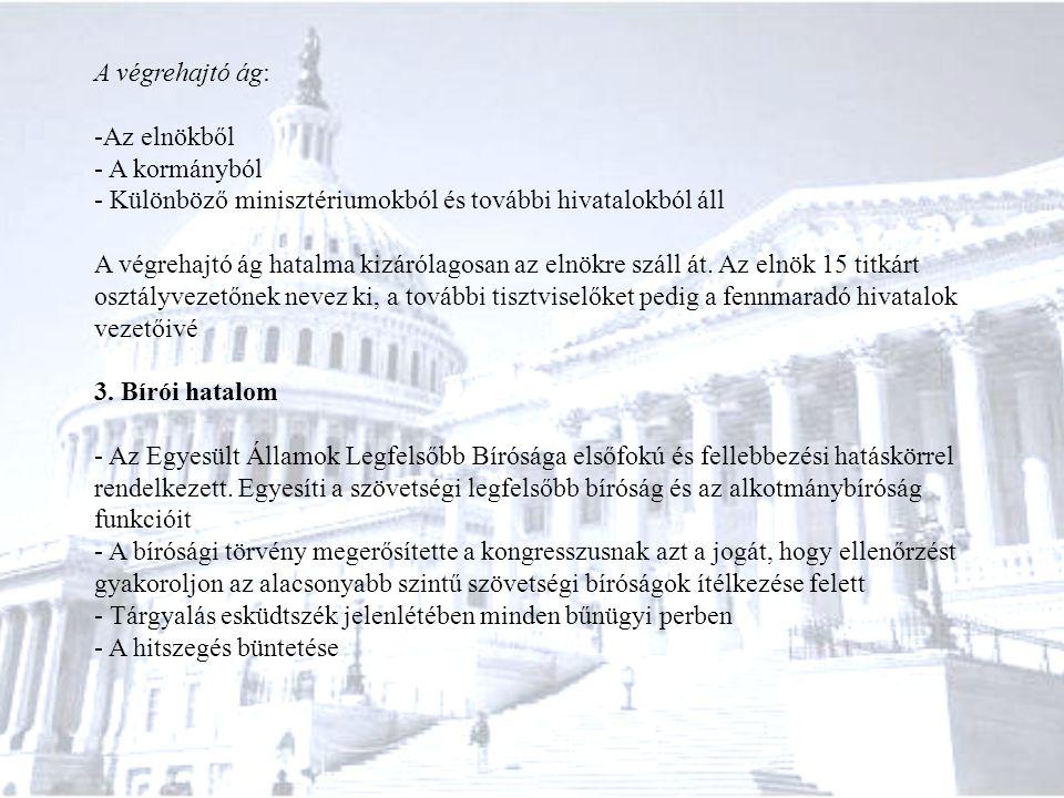 A végrehajtó ág: Az elnökből. A kormányból. Különböző minisztériumokból és további hivatalokból áll.