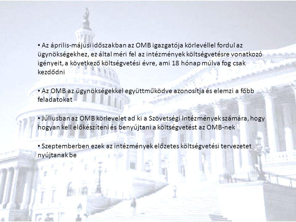 Az április-májusi időszakban az OMB igazgatója körlevéllel fordul az ügynökségekhez, ez által méri fel az intézmények költségvetésre vonatkozó igényeit, a következő költségvetési évre, ami 18 hónap múlva fog csak kezdődni