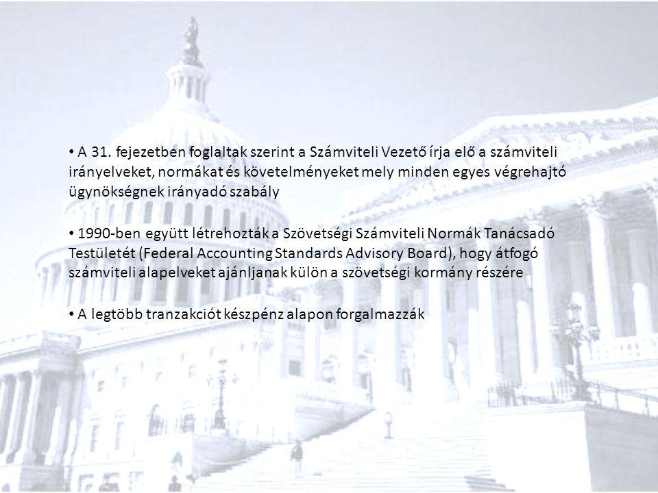 A 31. fejezetben foglaltak szerint a Számviteli Vezető írja elő a számviteli irányelveket, normákat és követelményeket mely minden egyes végrehajtó ügynökségnek irányadó szabály