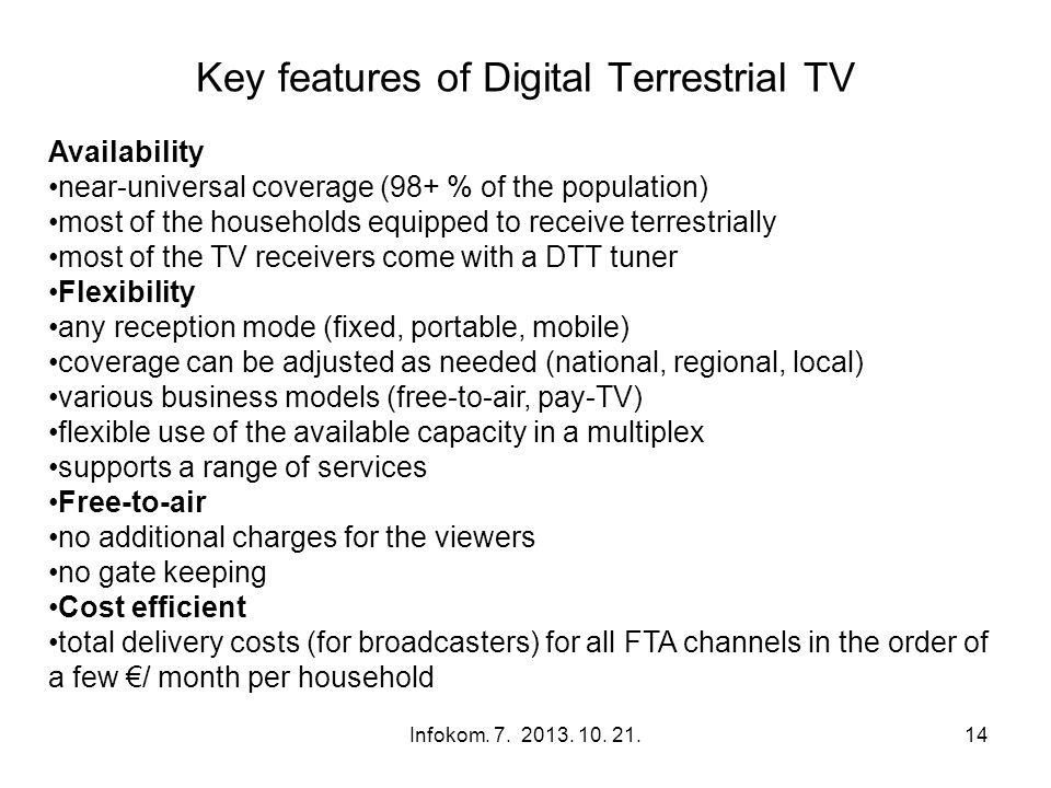 Key features of Digital Terrestrial TV