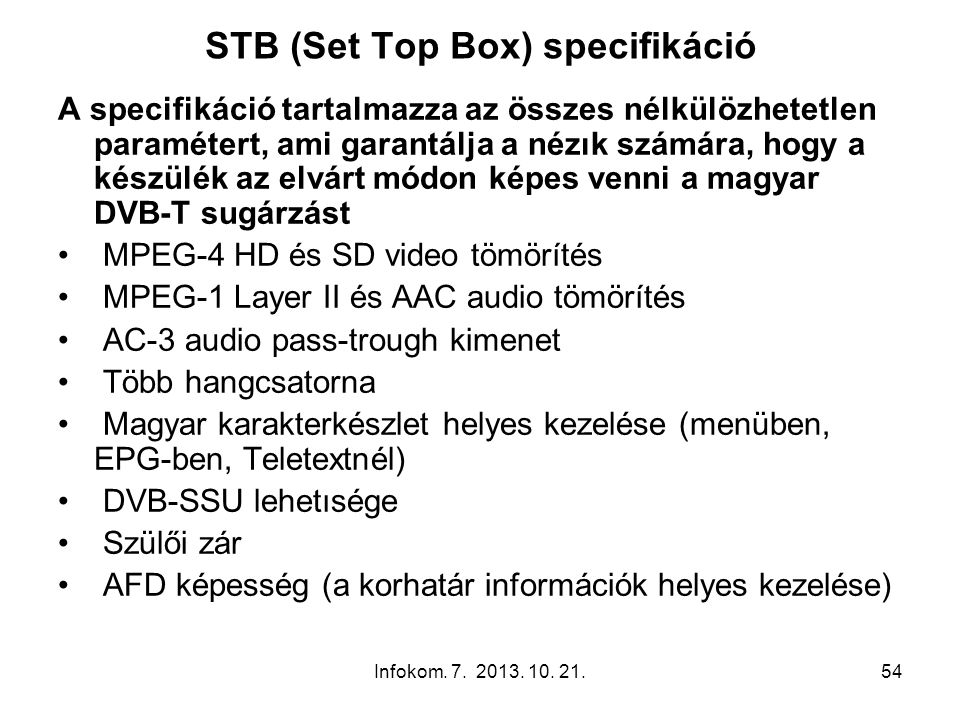 STB (Set Top Box) specifikáció
