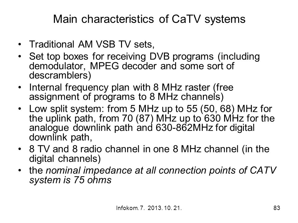 Main characteristics of CaTV systems
