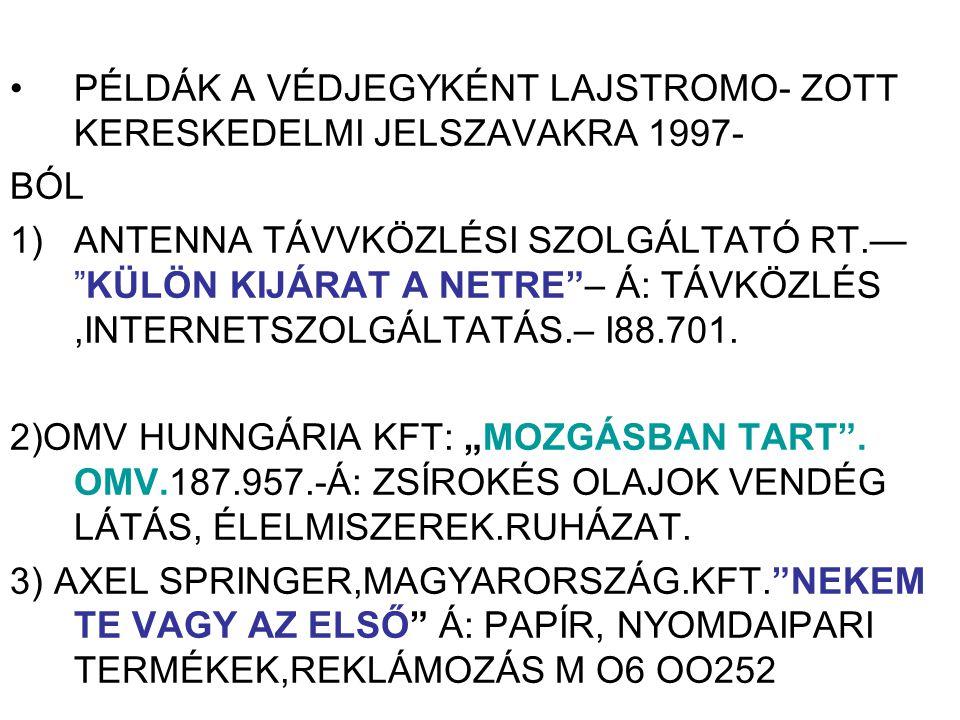 PÉLDÁK A VÉDJEGYKÉNT LAJSTROMO- ZOTT KERESKEDELMI JELSZAVAKRA 1997-