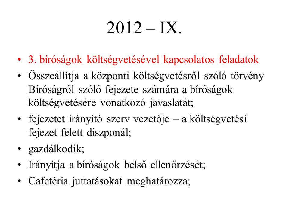 2012 – IX. 3. bíróságok költségvetésével kapcsolatos feladatok