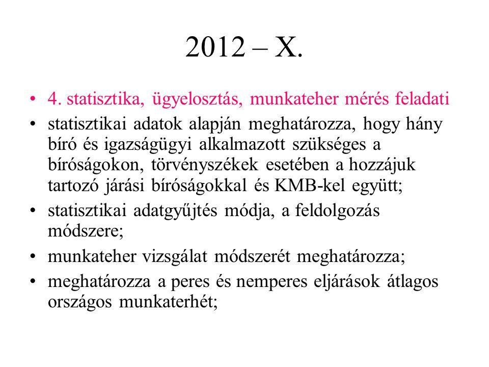 2012 – X. 4. statisztika, ügyelosztás, munkateher mérés feladati