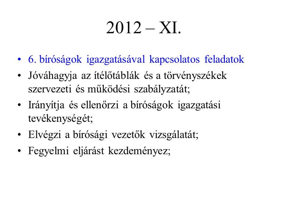 2012 – XI. 6. bíróságok igazgatásával kapcsolatos feladatok