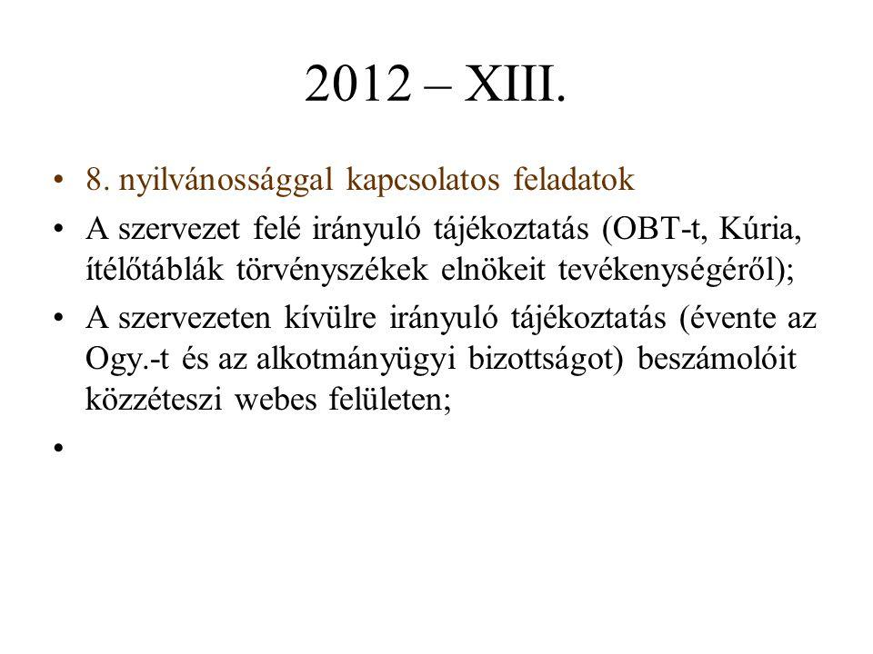 2012 – XIII. 8. nyilvánossággal kapcsolatos feladatok