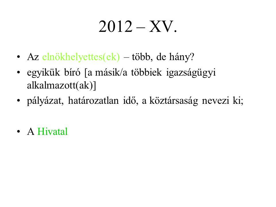 2012 – XV. Az elnökhelyettes(ek) – több, de hány
