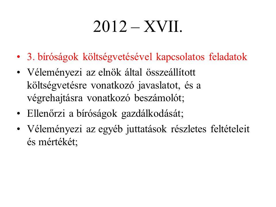 2012 – XVII. 3. bíróságok költségvetésével kapcsolatos feladatok