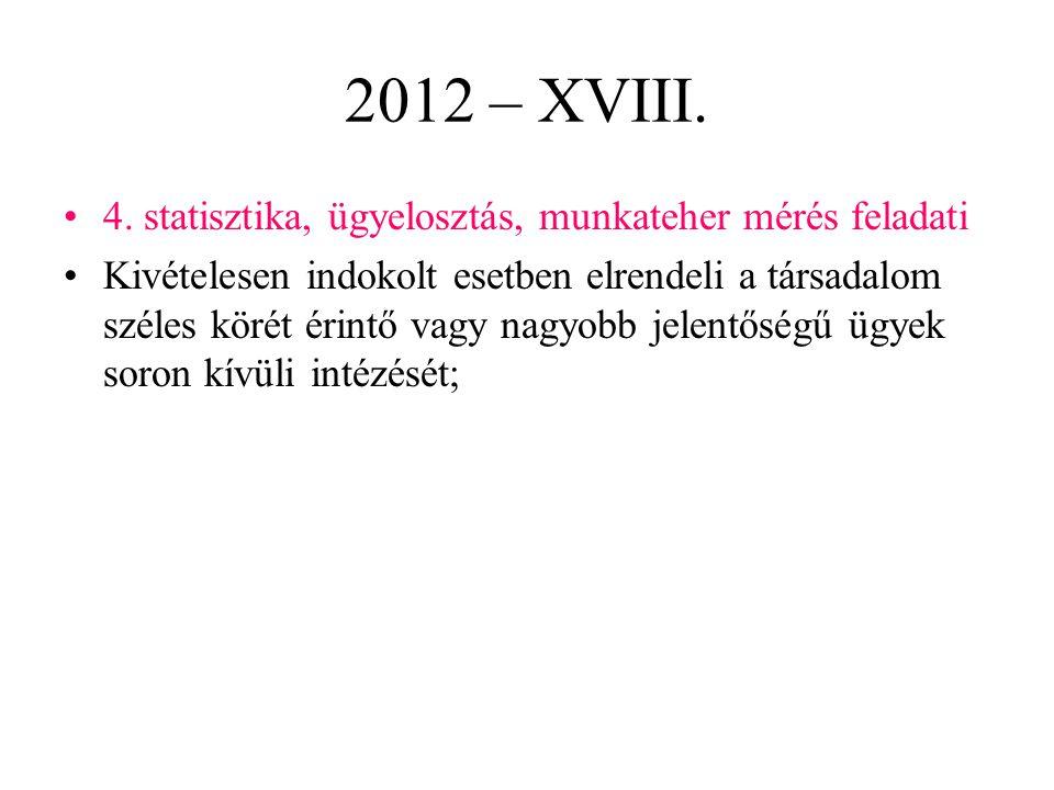 2012 – XVIII. 4. statisztika, ügyelosztás, munkateher mérés feladati