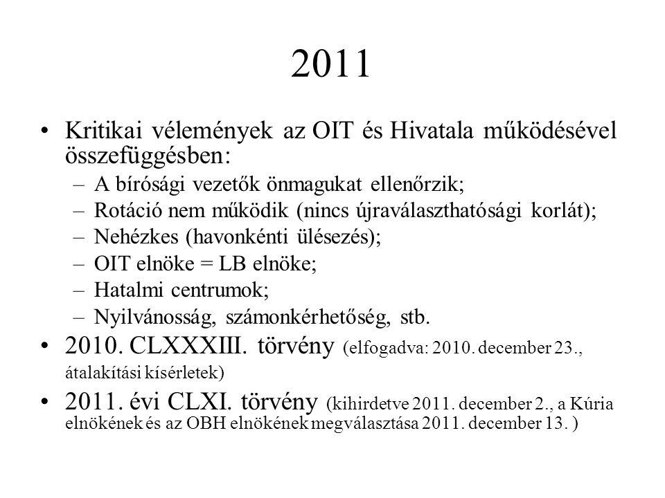2011 Kritikai vélemények az OIT és Hivatala működésével összefüggésben: A bírósági vezetők önmagukat ellenőrzik;