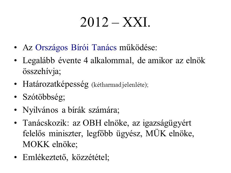 2012 – XXI. Az Országos Bírói Tanács működése: