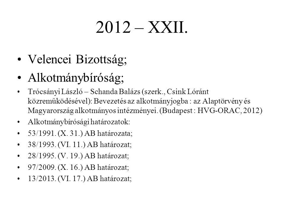 2012 – XXII. Velencei Bizottság; Alkotmánybíróság;