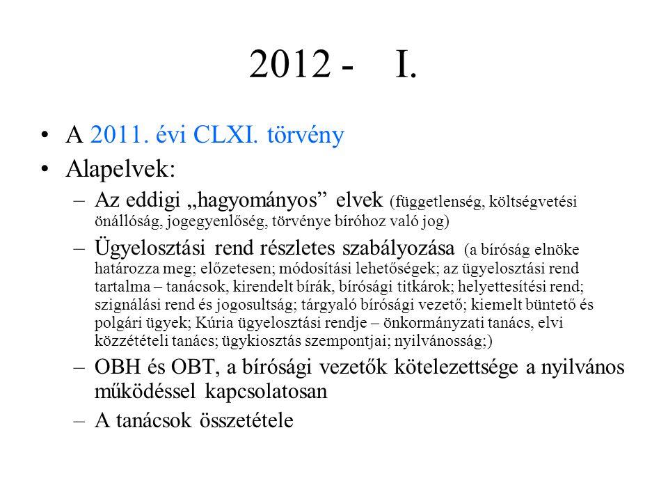2012 - I. A 2011. évi CLXI. törvény Alapelvek: