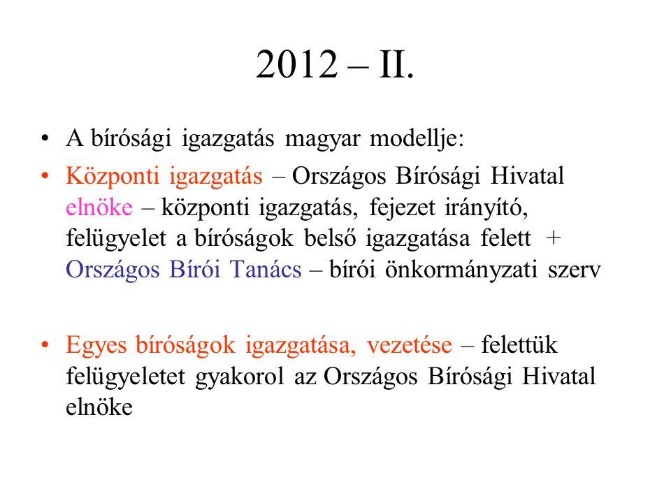 2012 – II. A bírósági igazgatás magyar modellje: