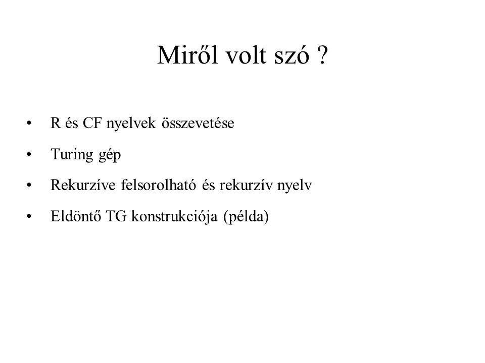 Miről volt szó R és CF nyelvek összevetése Turing gép