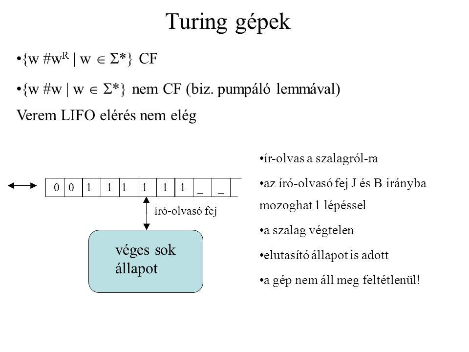 Turing gépek w #wR  w  * CF