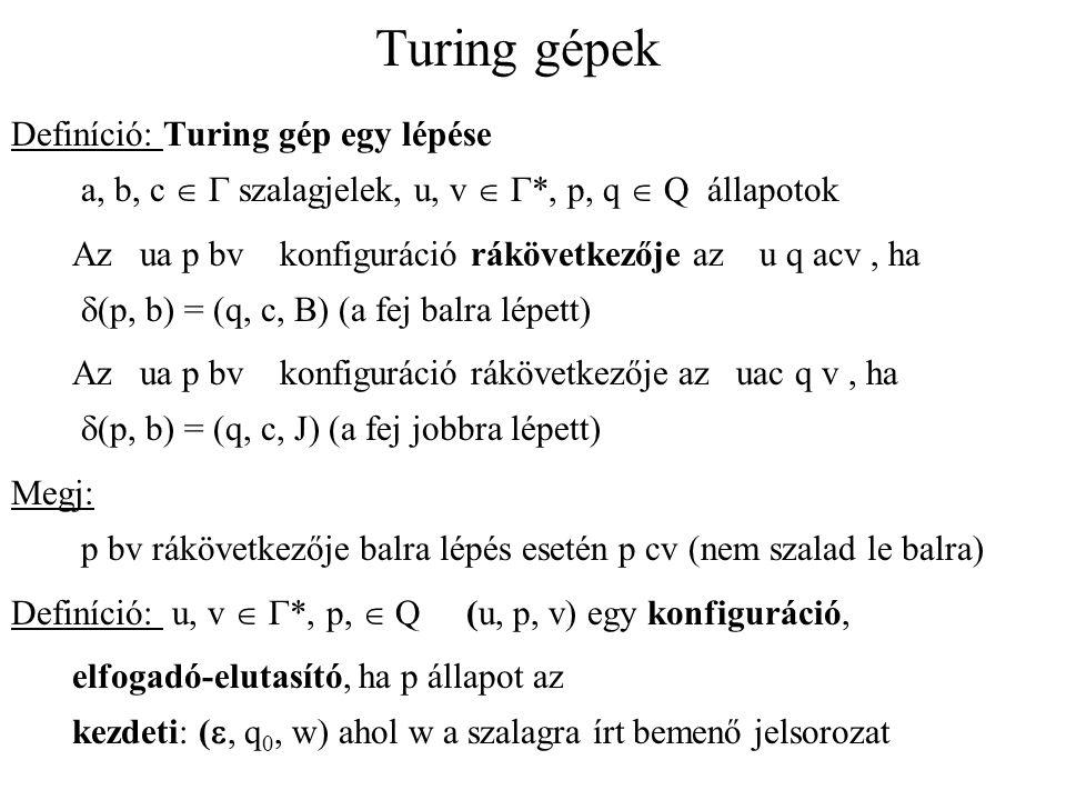 Turing gépek Definíció: Turing gép egy lépése a, b, c  G szalagjelek, u, v  G*, p, q  Q állapotok.