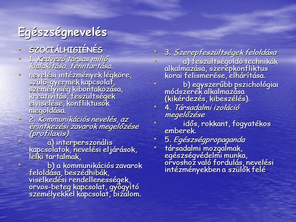 Egészségnevelés SZOCIÁLHIGIÉNÉS 3. Szerepfeszültségek feloldása