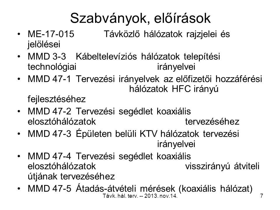 Szabványok, előírások ME-17-015 Távközlő hálózatok rajzjelei és jelölései. MMD 3-3 Kábeltelevíziós hálózatok telepítési technológiai irányelvei.