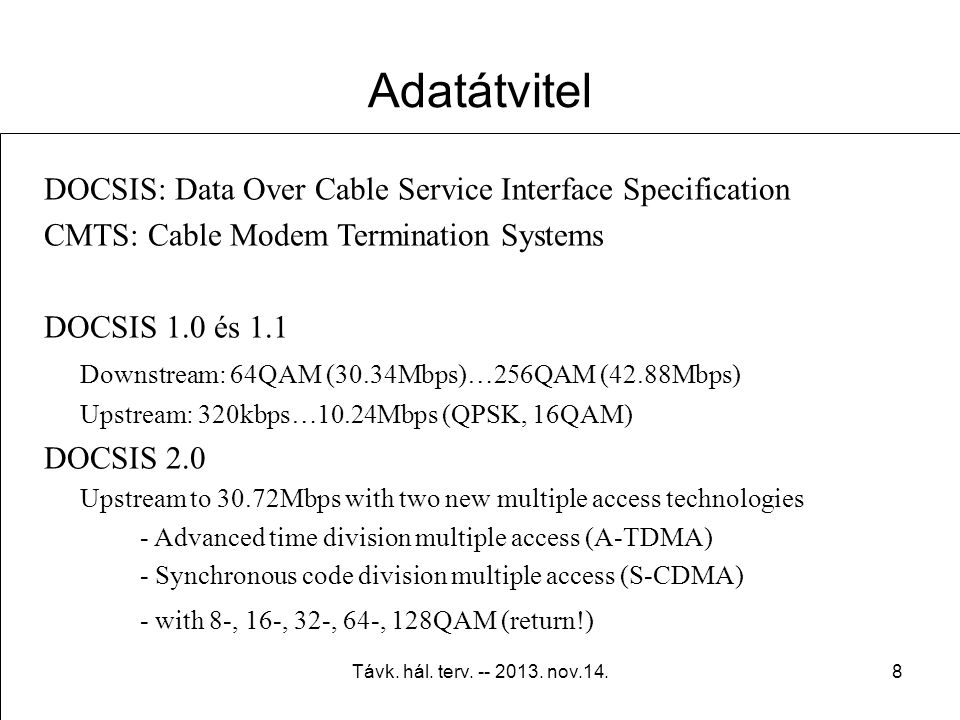 Adatátvitel DOCSIS: Data Over Cable Service Interface Specification