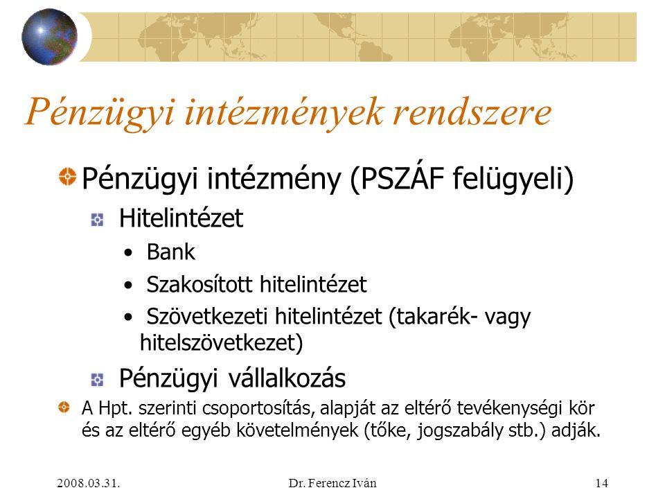 Pénzügyi intézmények rendszere