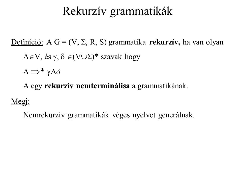 Rekurzív grammatikák