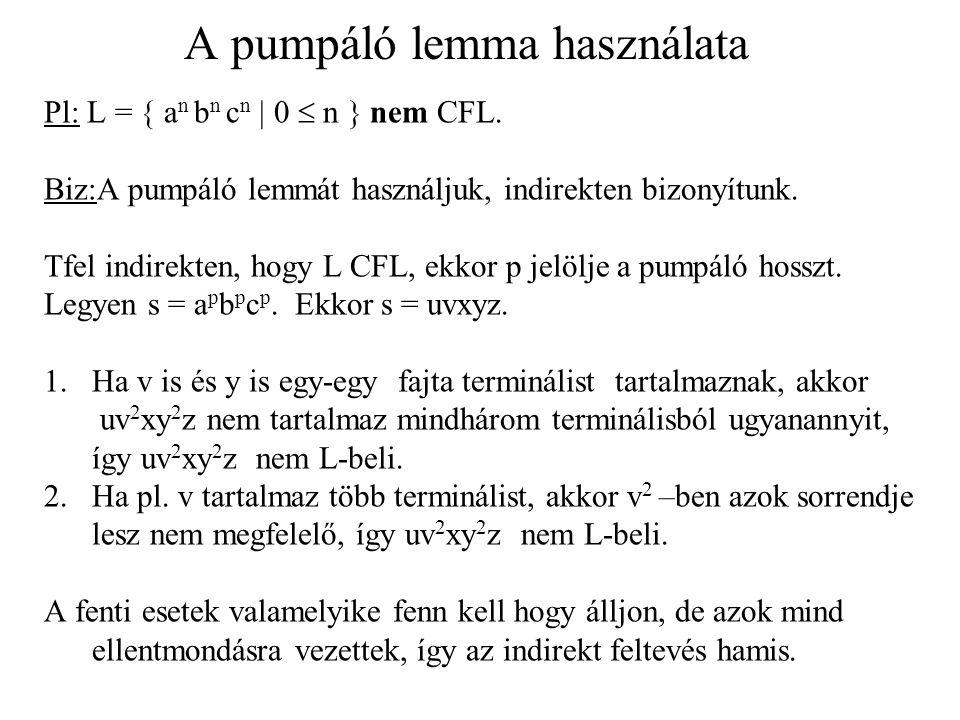 A pumpáló lemma használata