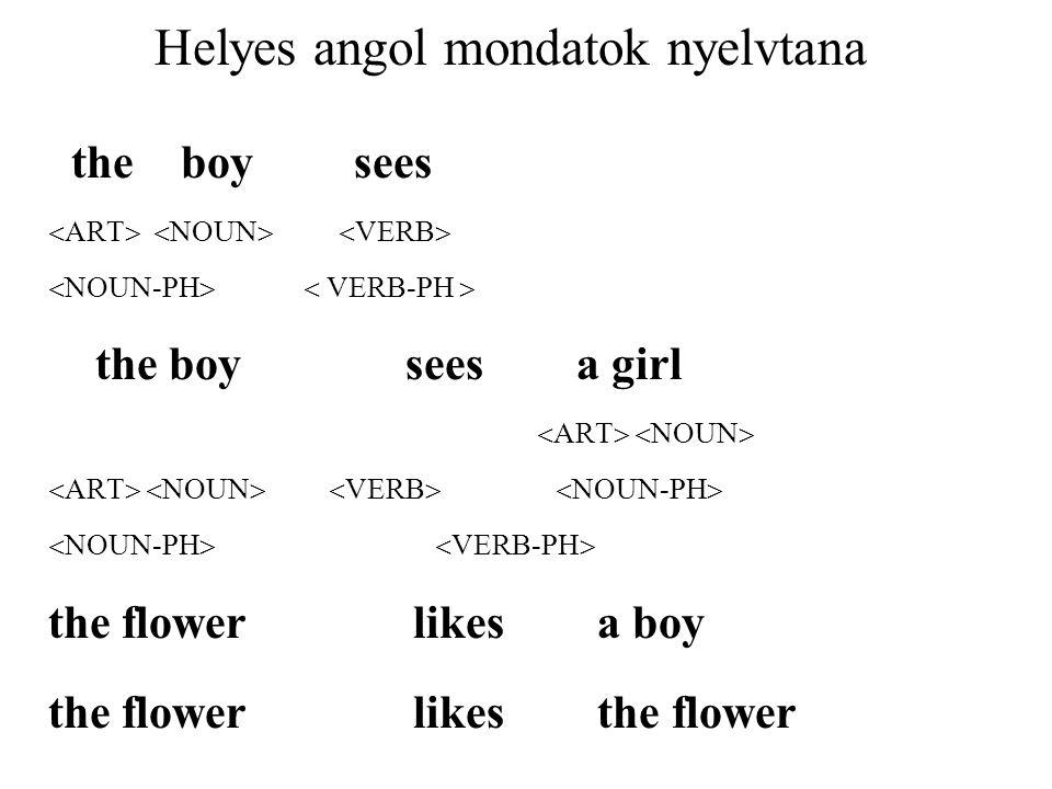 Helyes angol mondatok nyelvtana