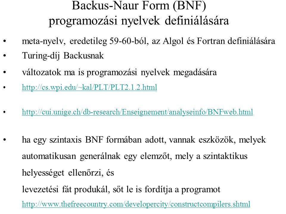 Backus-Naur Form (BNF) programozási nyelvek definiálására