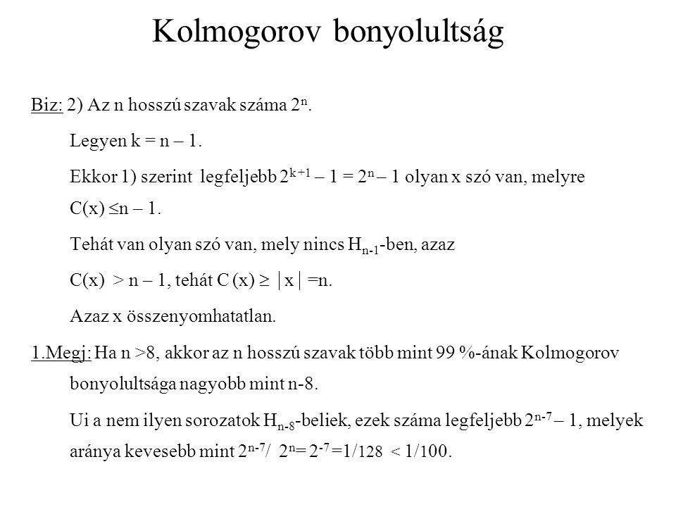 Kolmogorov bonyolultság