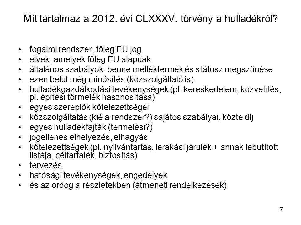 Mit tartalmaz a 2012. évi CLXXXV. törvény a hulladékról
