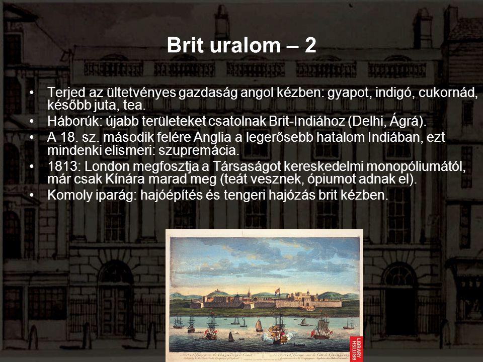 Brit uralom – 2 Terjed az ültetvényes gazdaság angol kézben: gyapot, indigó, cukornád, később juta, tea.