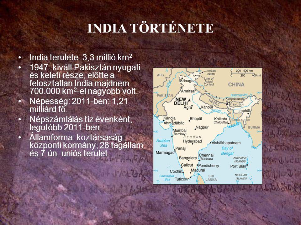 INDIA TÖRTÉNETE India területe: 3,3 millió km2